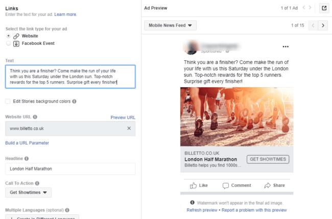 Facebook tapahtumamainos yksityiskohdat