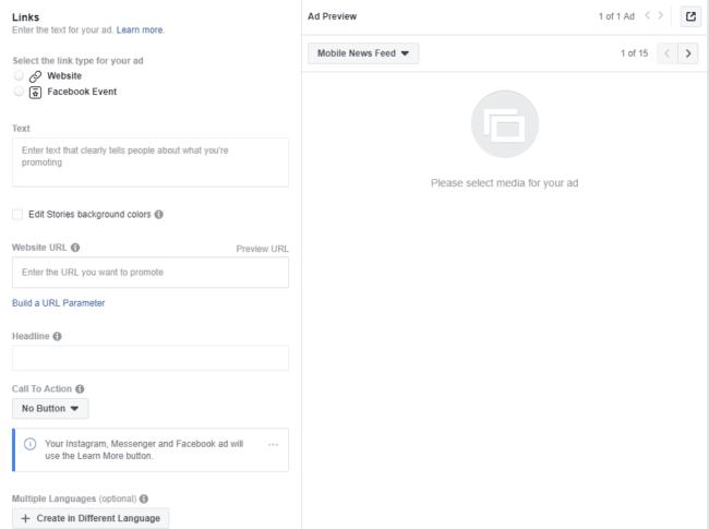 Linkin lisääminen Facebook-mainokseen