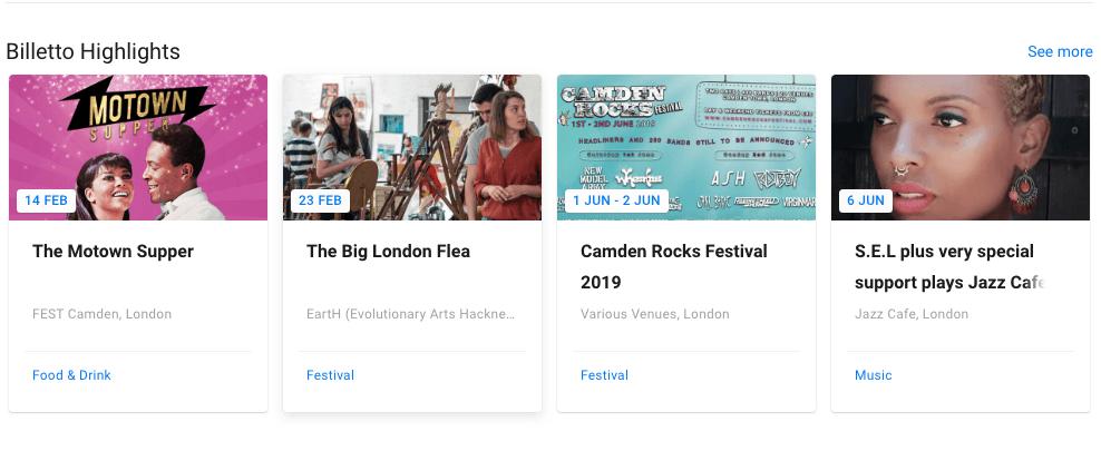 Immagini dell'elenco eventi.