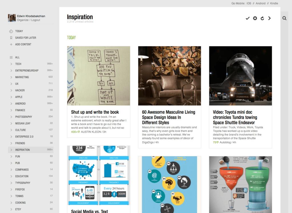 Feedly - un'app per gli avvisi sulle notizie.