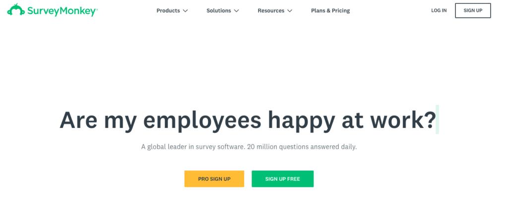 Værktøj til eventundersøgelse: SurveyMonkey.
