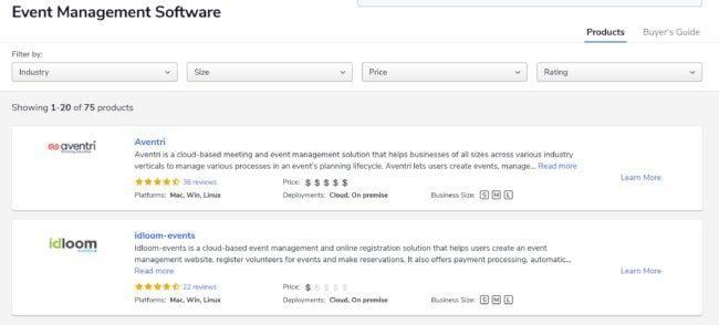 Questo sito vi dà una panoramica dei vari strumenti per la gestione di eventi.