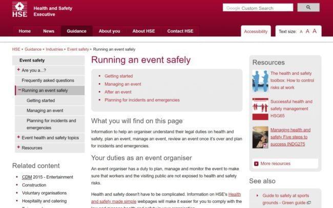 Información de salud y seguridad para eventos en el sitio web de HSE