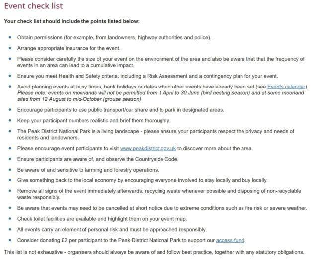 Lista de verificación de salud y seguridad para eventos.