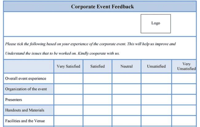 Este formulario de comentarios de evento utiliza una escala de valoración de insatisfecho a muy satisfecho