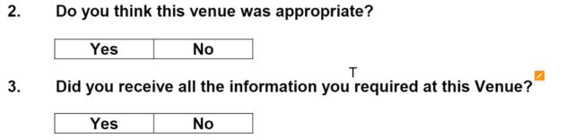 Ejemplo de formulario de comentarios de evento con respuestas de sí / no