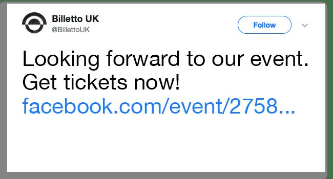 Evenement op Twitter delen: geen directe link