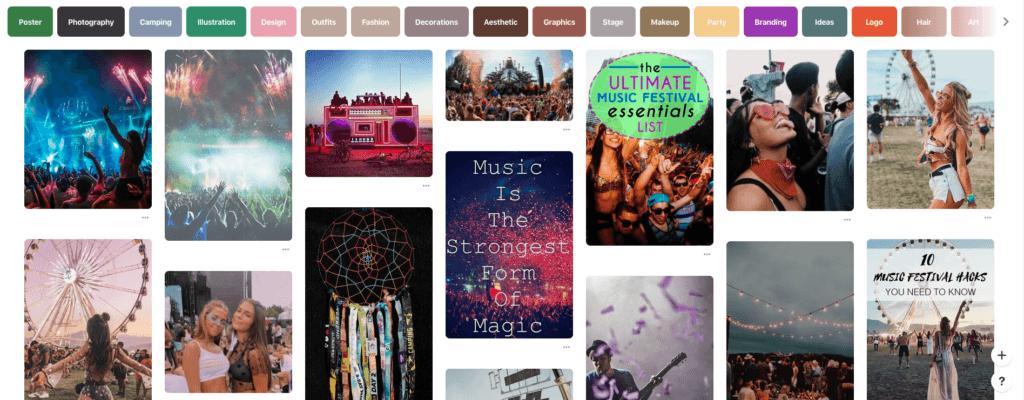 Å promotrer et evet på Pinterest: Slik markedsfører musikkfestivaler seg.