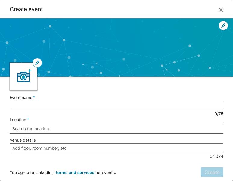 LinkedIn Events: Tapahtumasivun ensimmäinen puolikas.