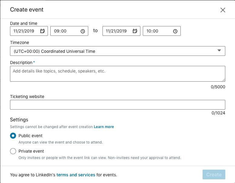 LinkedIn Events: Andre halvdel av eventsiden.