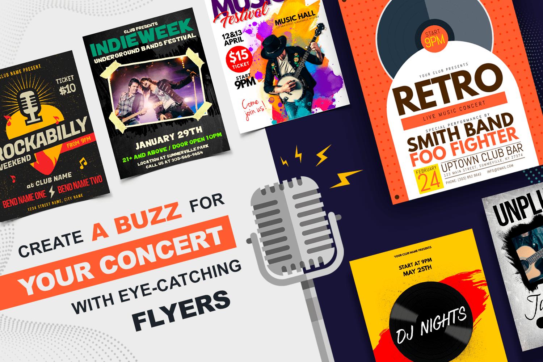 Kreiere mit auffälligen Flyern eine Stimmung für dein Konzert