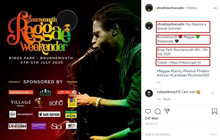 Afro Dis bildtext till Instagram